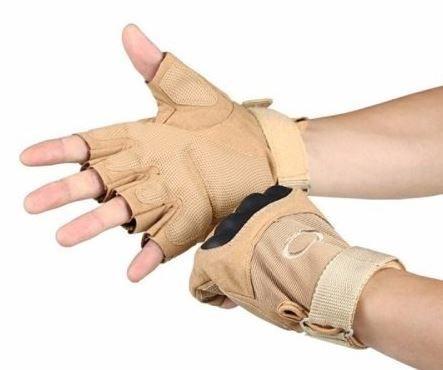 Luva Tática com Proteção - Meio Dedo - TAN