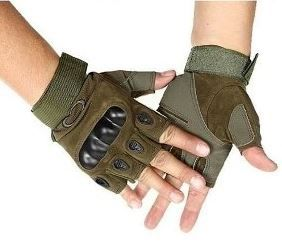 Luva Tática com Proteção - Meio Dedo - Verde
