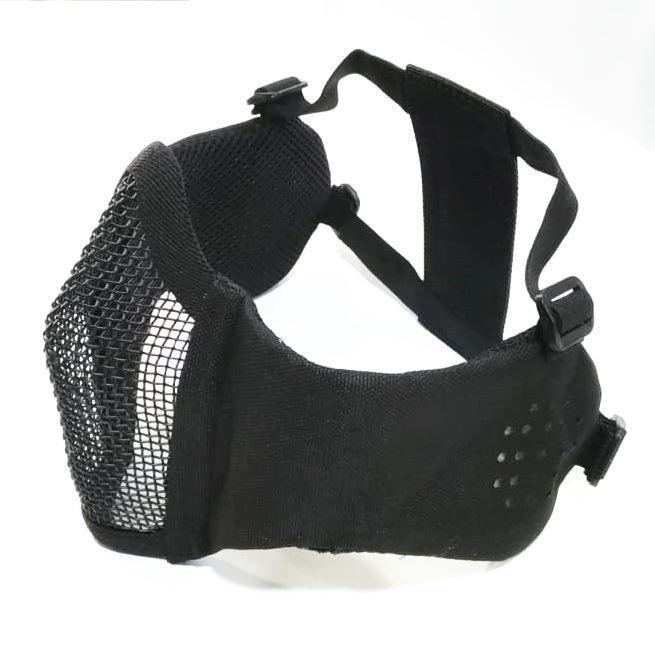 Mascara de Tela Meia Face com Proteção de Orelha - Preta