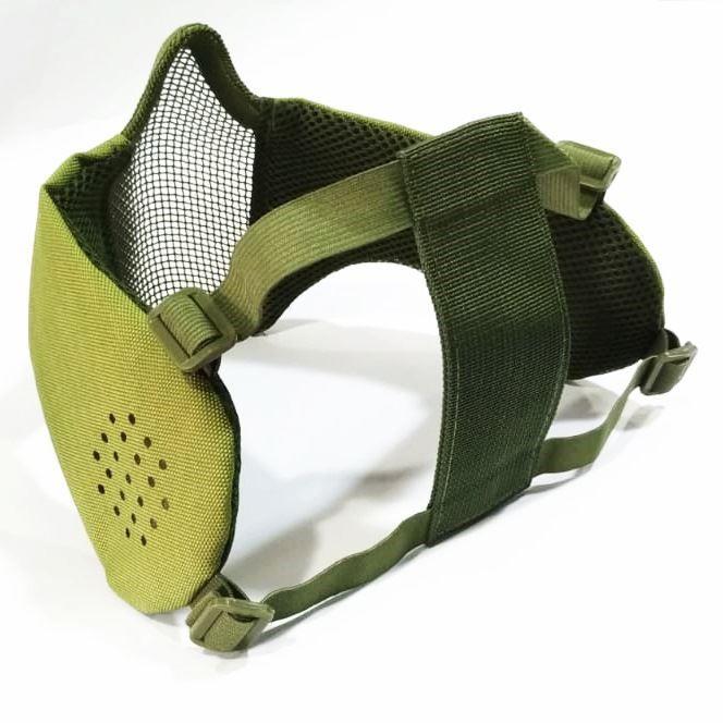 Mascara de Tela Meia Face com Proteção de Orelha - Verde