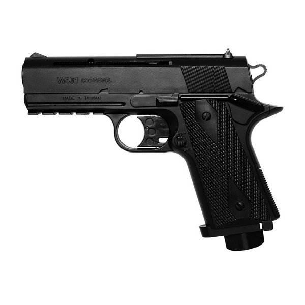 Pistola de Pressão a Gás CO2 W401 4.5mm - Wingun + 10 Cilindros CO2 + 300 Esferas + Silicone