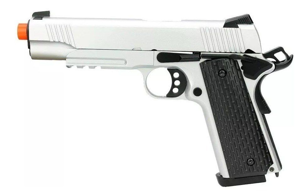 Pistola GBB Airsoft Green Gás M1911 Warrior BlowBack SILVER - ARMY