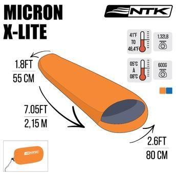 Saco de Dormir Micron X-Lite 5°C a 8°C NTK - Laranja e Preto