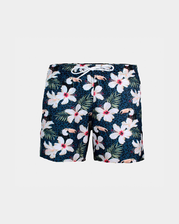Short De Praia Floral Print