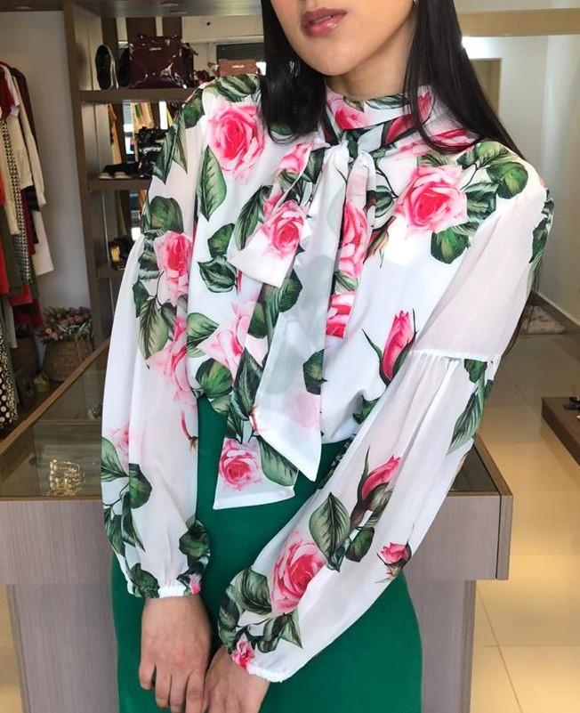 Blusa Floral Doce amarração Lulu