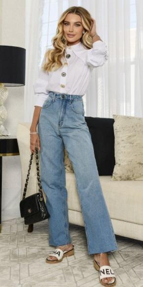 Calca Jeans Basica wild leg Blessed