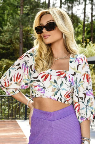 Cropped Linho Floral Orquidea Los  Angeles Blessed