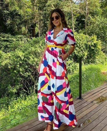 Vestido Crepe Abstrata Lulu