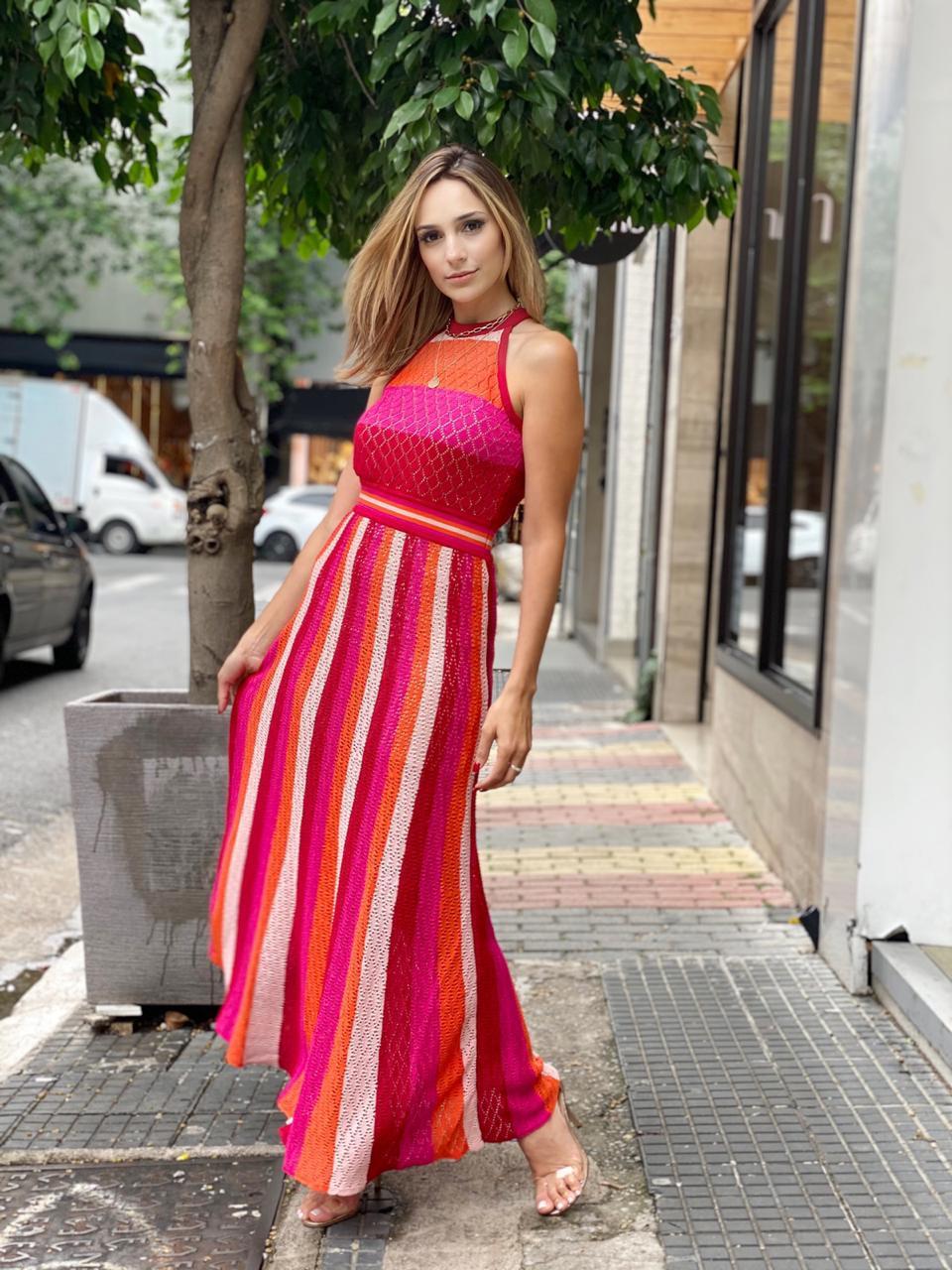 Vestido Multicolor longo Rayon Casualli