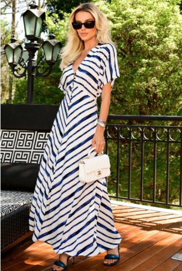 Vestido Striped Listras Blue Beach Blessed