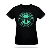 Camiseta Feminina Preta Be Stronger Silk Verde Água