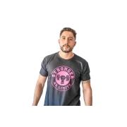 Camiseta Masculina Preta Be Stronger Silk Rosa Pink