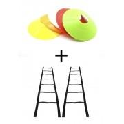 Escada de Agilidade - 2 em 1 + Cones Chapéu Chinês