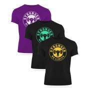 Kit 3 Camisetas - Preta com Amarelo, Verde e Roxa com prata (kit2)