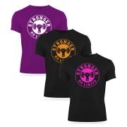 Kit 3 Camisetas - Preta com rosa, Laranja e Roxa com branca (kit1)