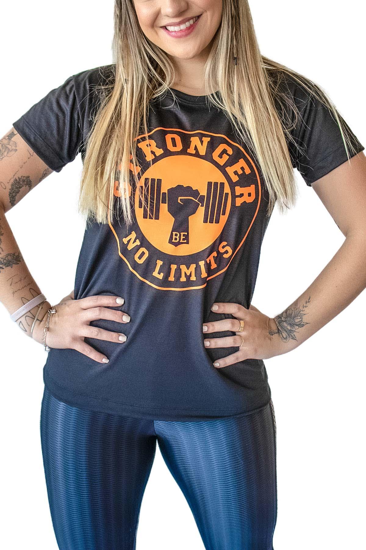 Camiseta Feminina Preta Be Stronger Silk Laranja Fluorescente
