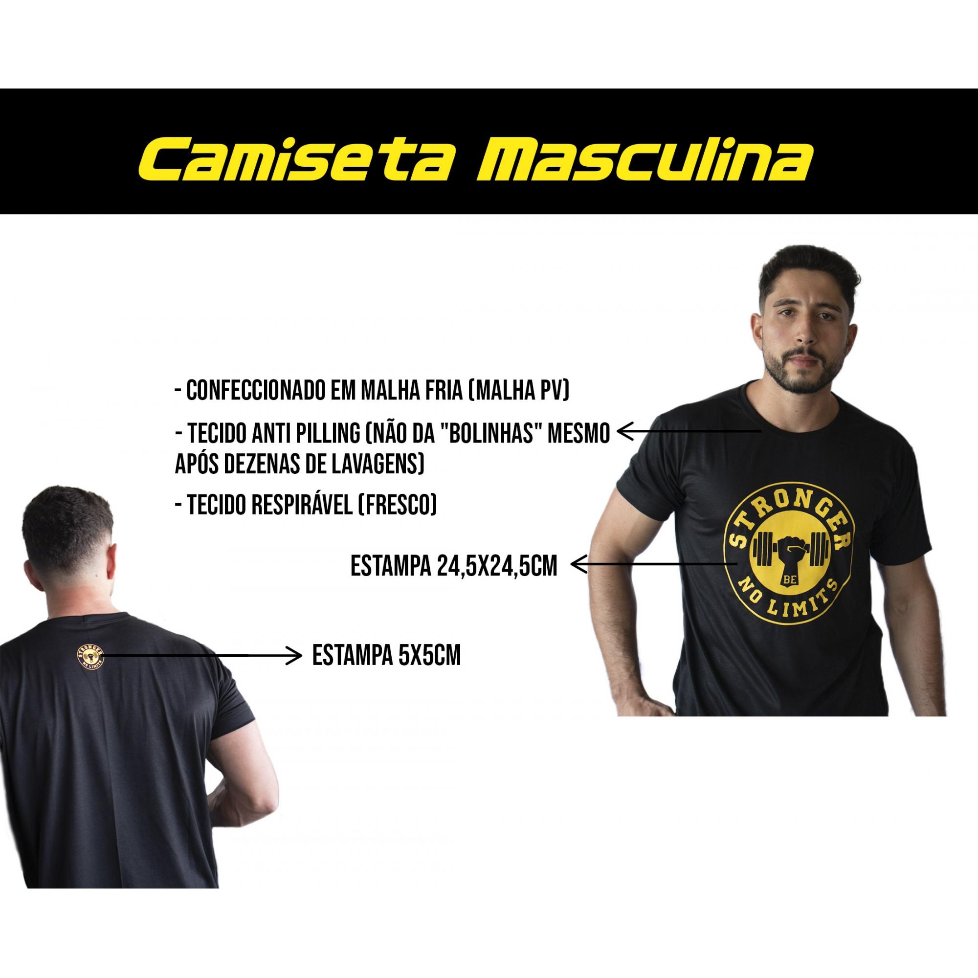 Camiseta Masculina Preta Be Stronger Silk Laranja Fluorescente