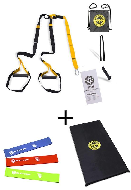 Fita de suspensao - Argola - Completa + Colchonete Espuma 90x45x3 + Kit Mini bands
