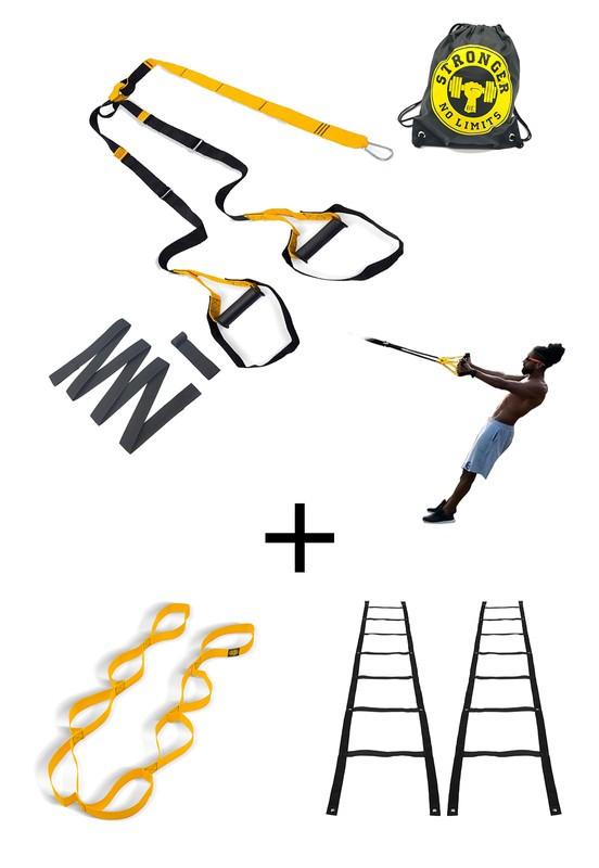 Fita de suspensão - Argola - Completa + Escada Agilidade + Fita de Alongamento
