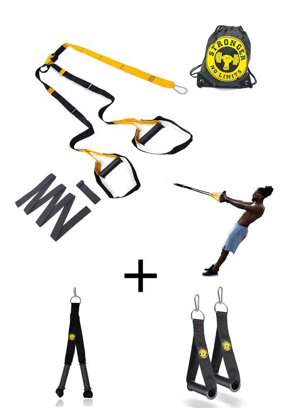 Fita de suspensao - Argola - Completa + Puxador Crossover + Puxador Tríceps