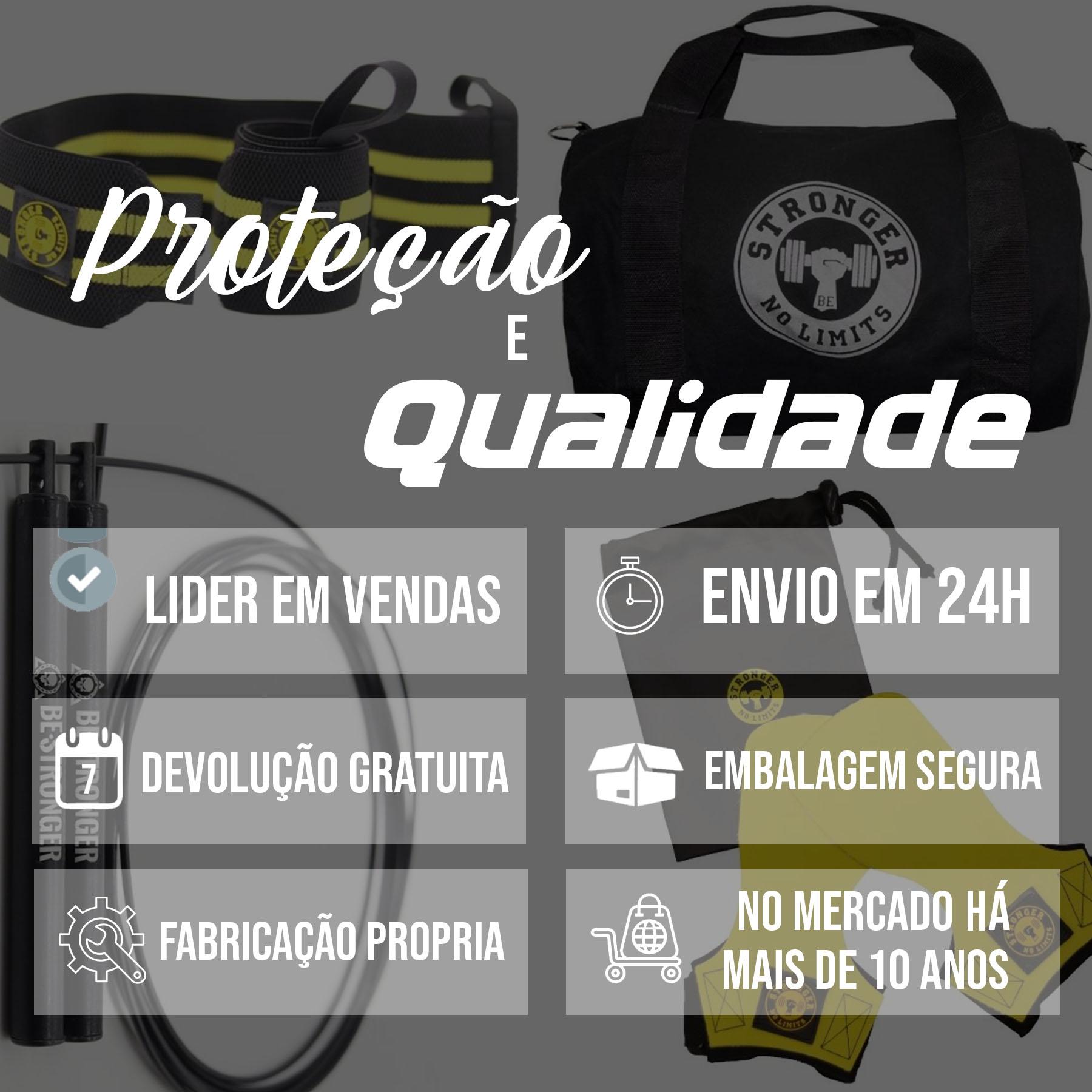 Hand Grip Thor Especial Edition + Bolsa de Treino Preta + Corda Be Stronger Preta + Munhequeira Elástica Amarela