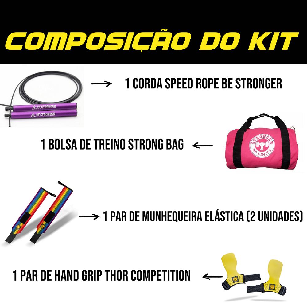Hand Grip Thor Especial Edition + Bolsa de Treino Rosa + Corda Be Stronger Lilás + Munhequeira Elástica Colorida