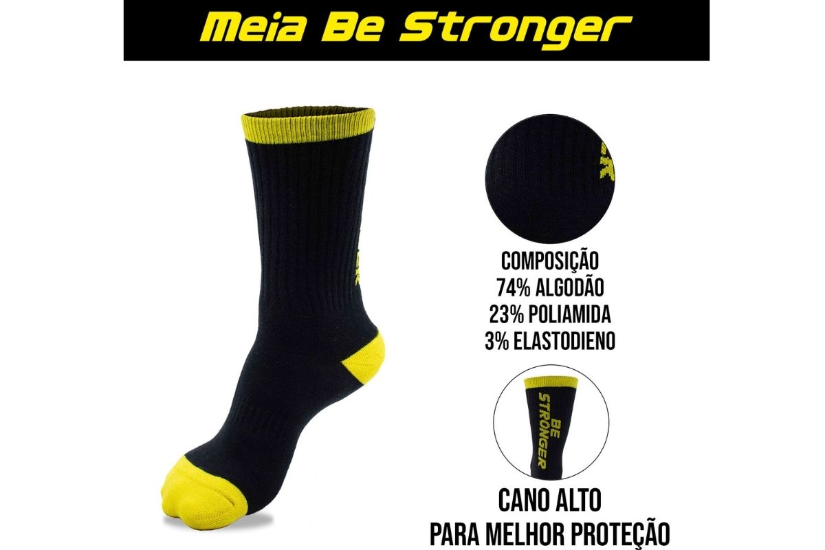 Kit 2x Meia Be Stronger Amarela Estampa Escrita