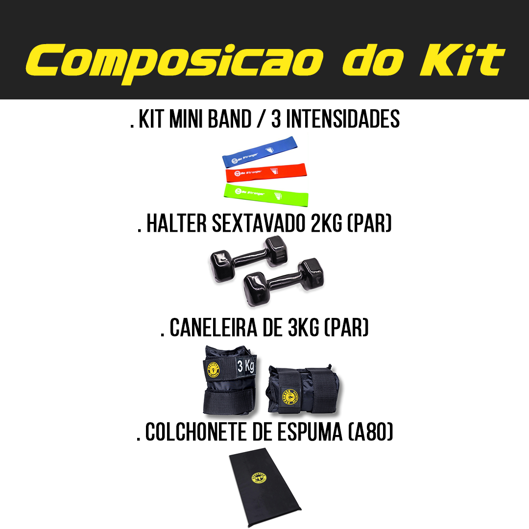 Kit Caneleira de Peso 3kg + Halter Dumbbel 2kg + Colchonete de Espuma + Mini Bands 3