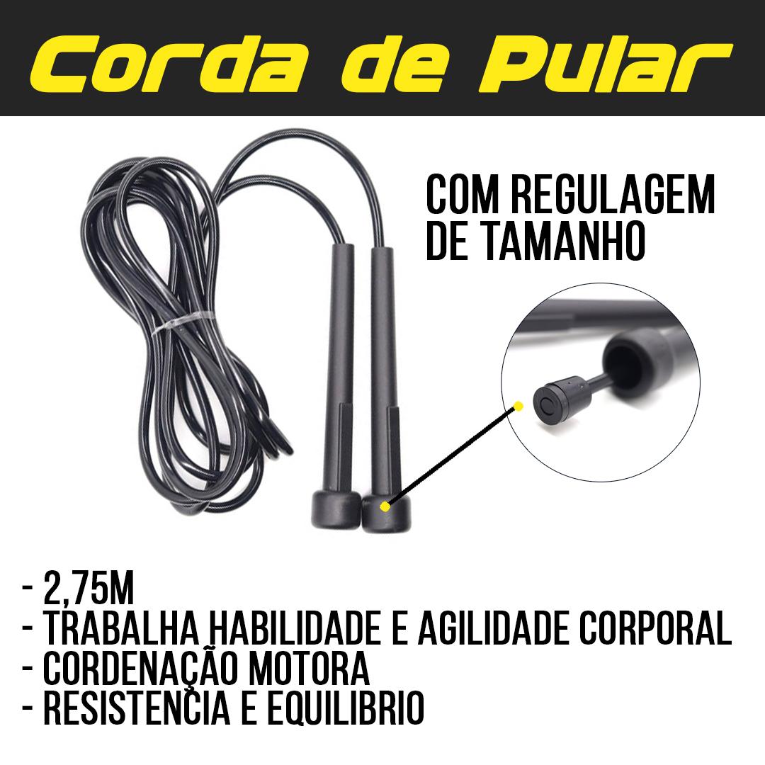 Kit Colchonete Espuma + Corda de Pular + Caneleira de Peso 2kg