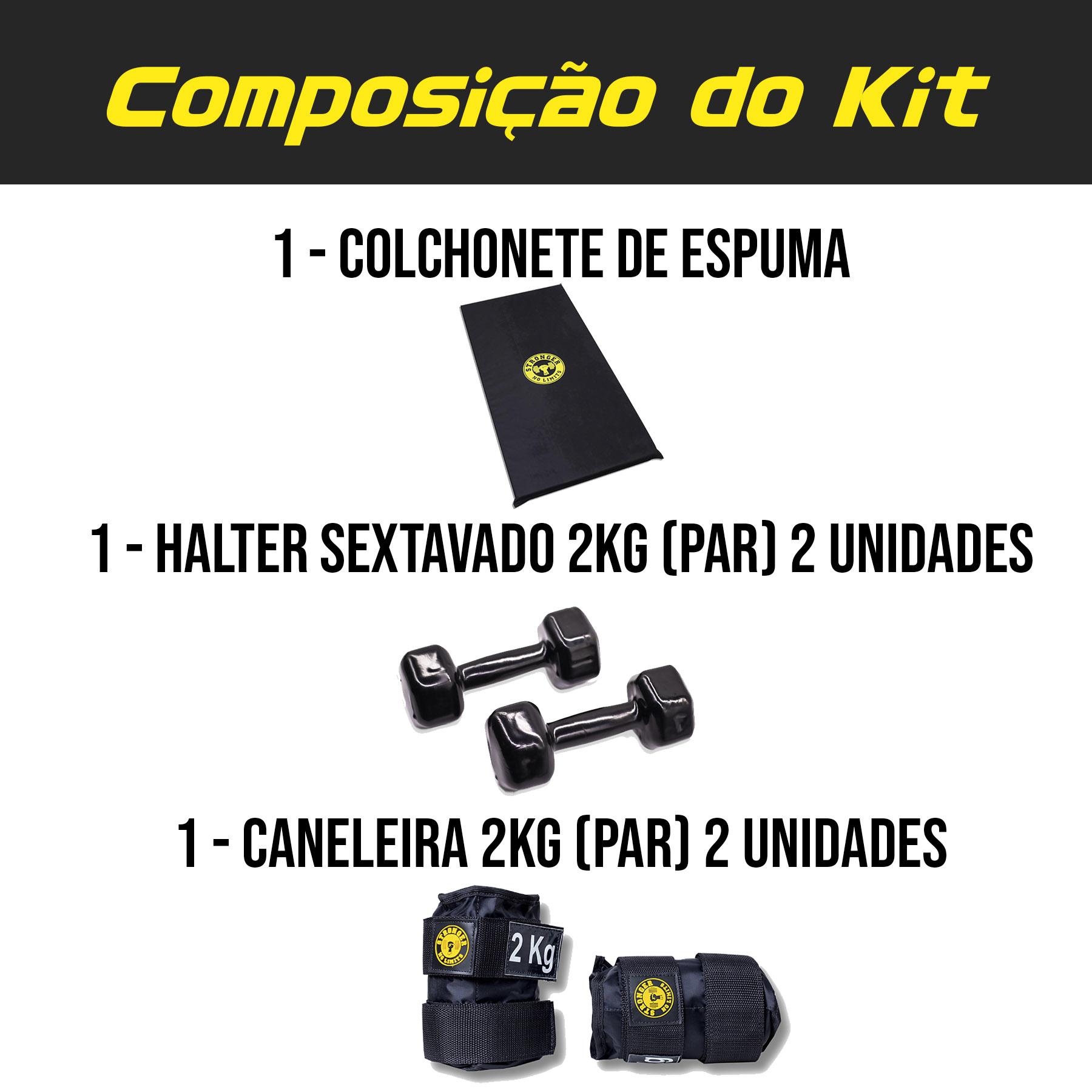Kit Colchonete Espuma + Halter Dumbbell 2kg + Caneleira de peso 2kg