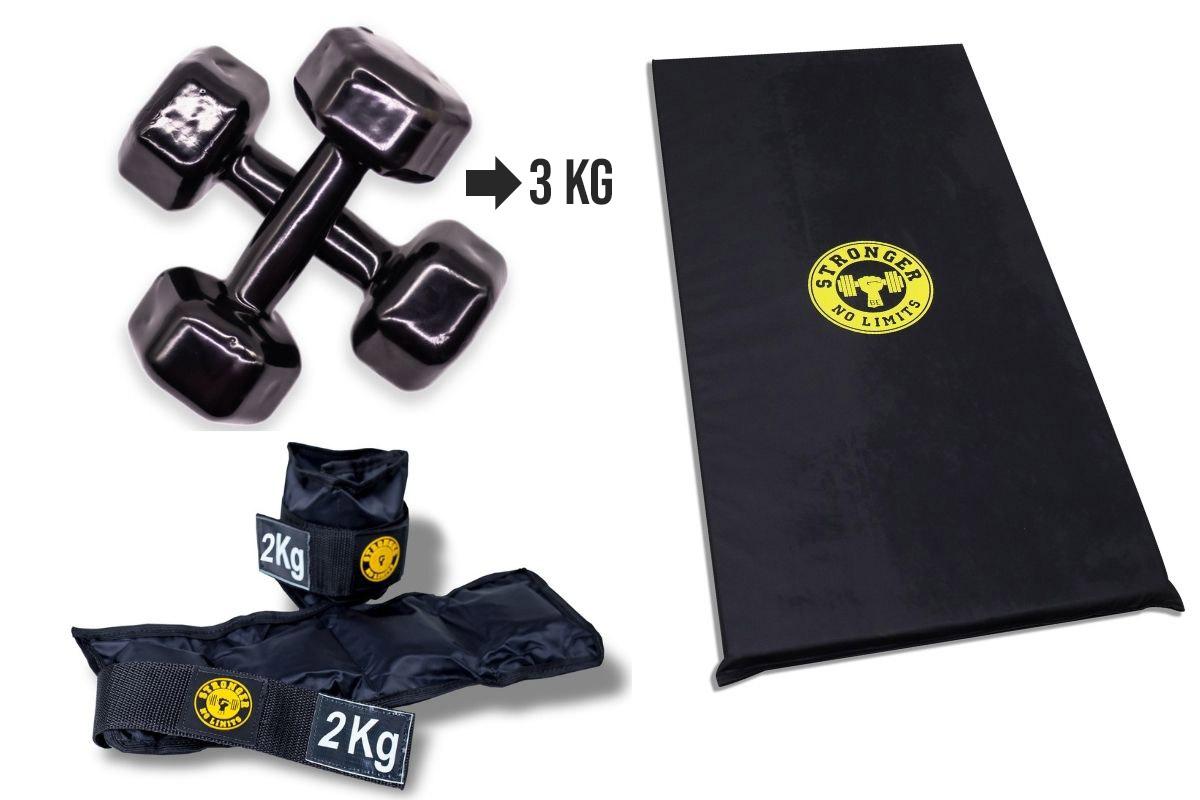 Kit Colchonete Espuma + Halter Dumbbell 3kg + Caneleira de Peso 2kg