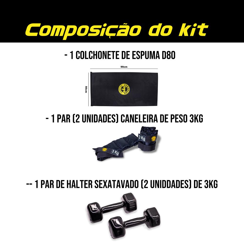 Kit Colchonete Espuma + Halter Dumbbell 3kg + Caneleira de Peso 3kg