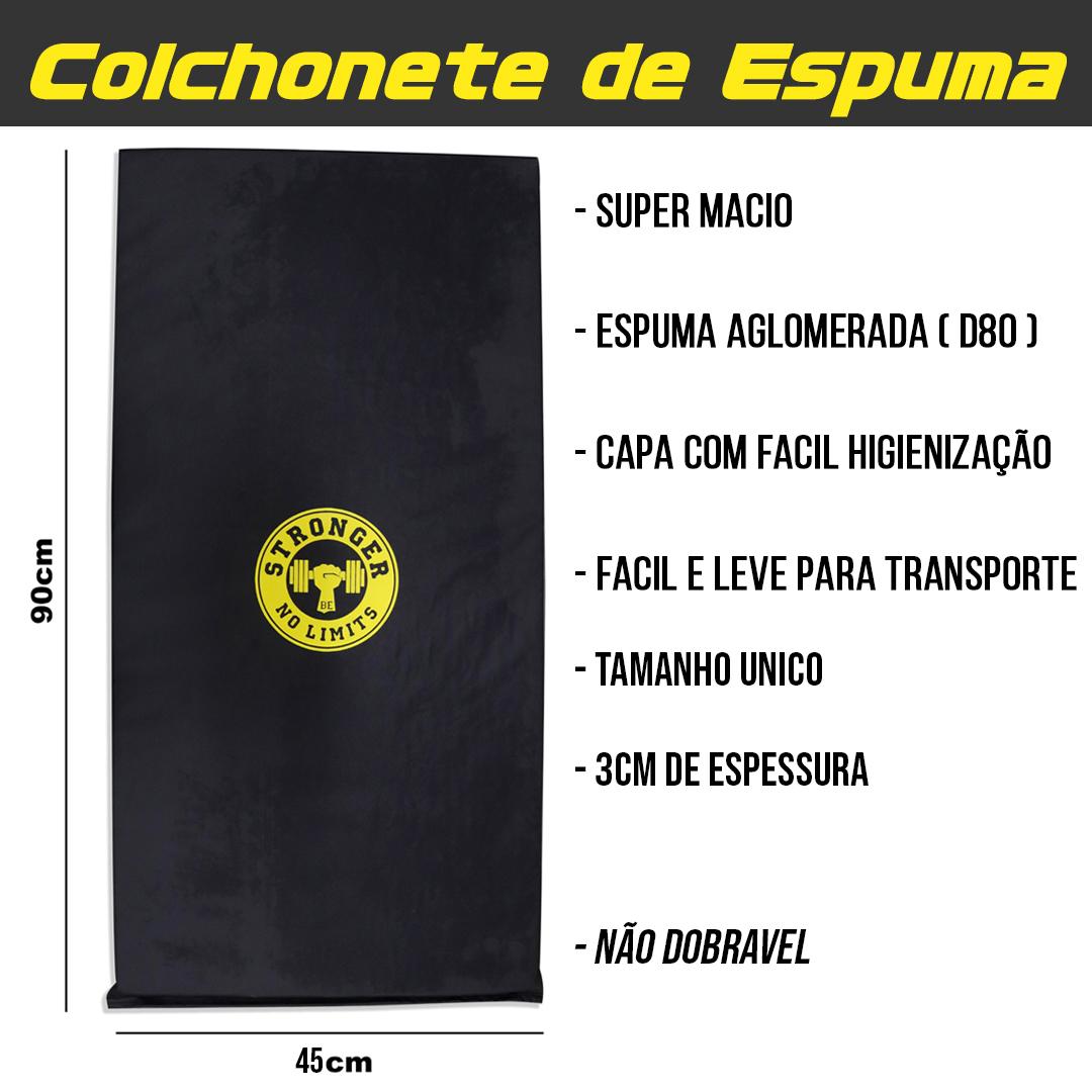 Kit Colchonete espuma + Halter sevado 1kg + Caneleira de peso 1kg