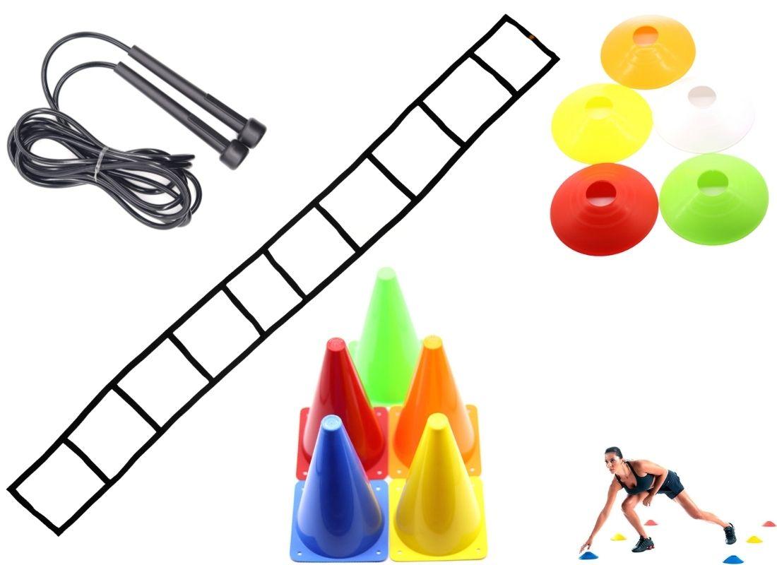Kit Funcional Be Stronger: 1 Escada de Agilidade + 1 Corda de Pular + 6 Cones de Agilidade + 10 Chapéus Chinês