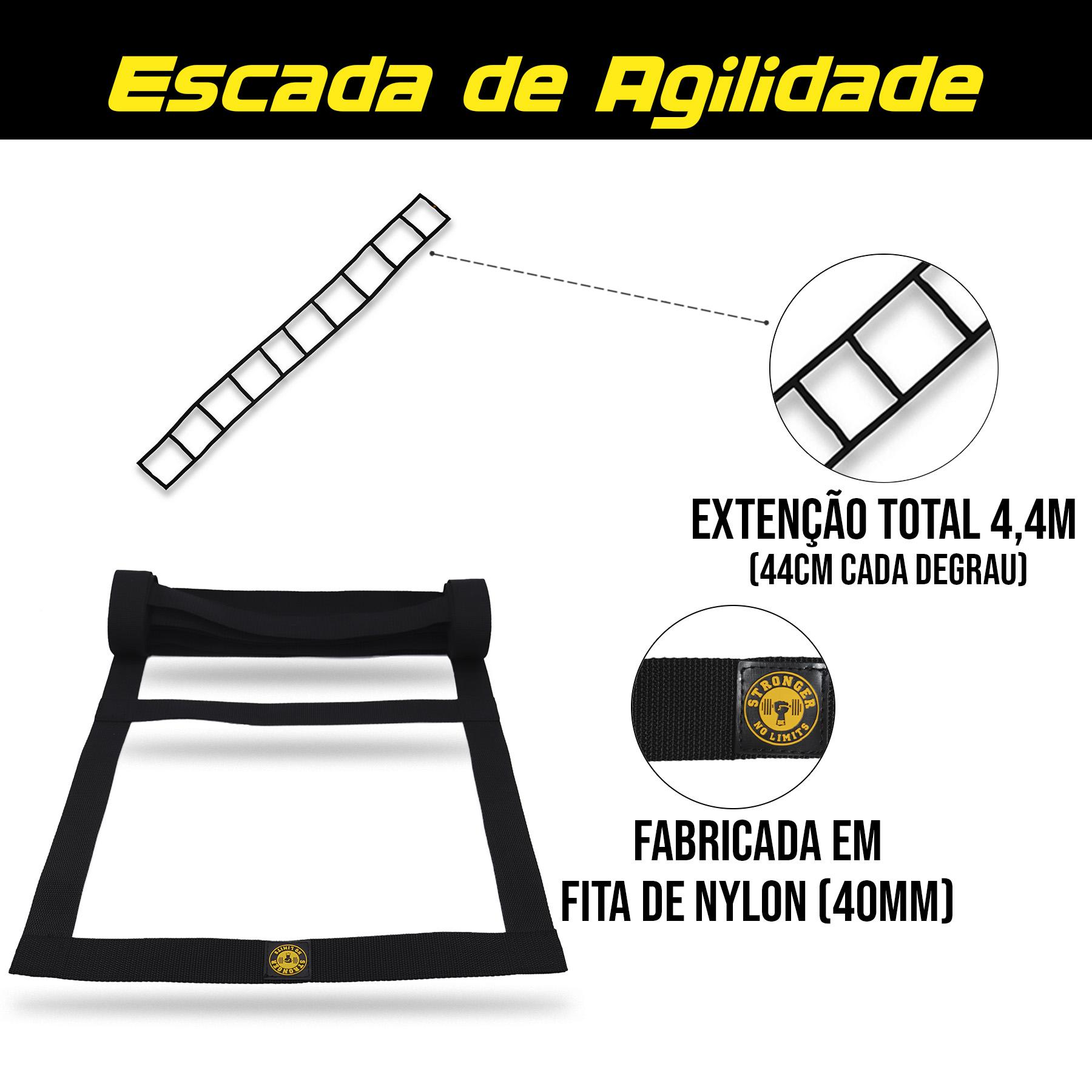 Kit Funcional - Escada de agilidade + Corda de pular + Cones de agilidade