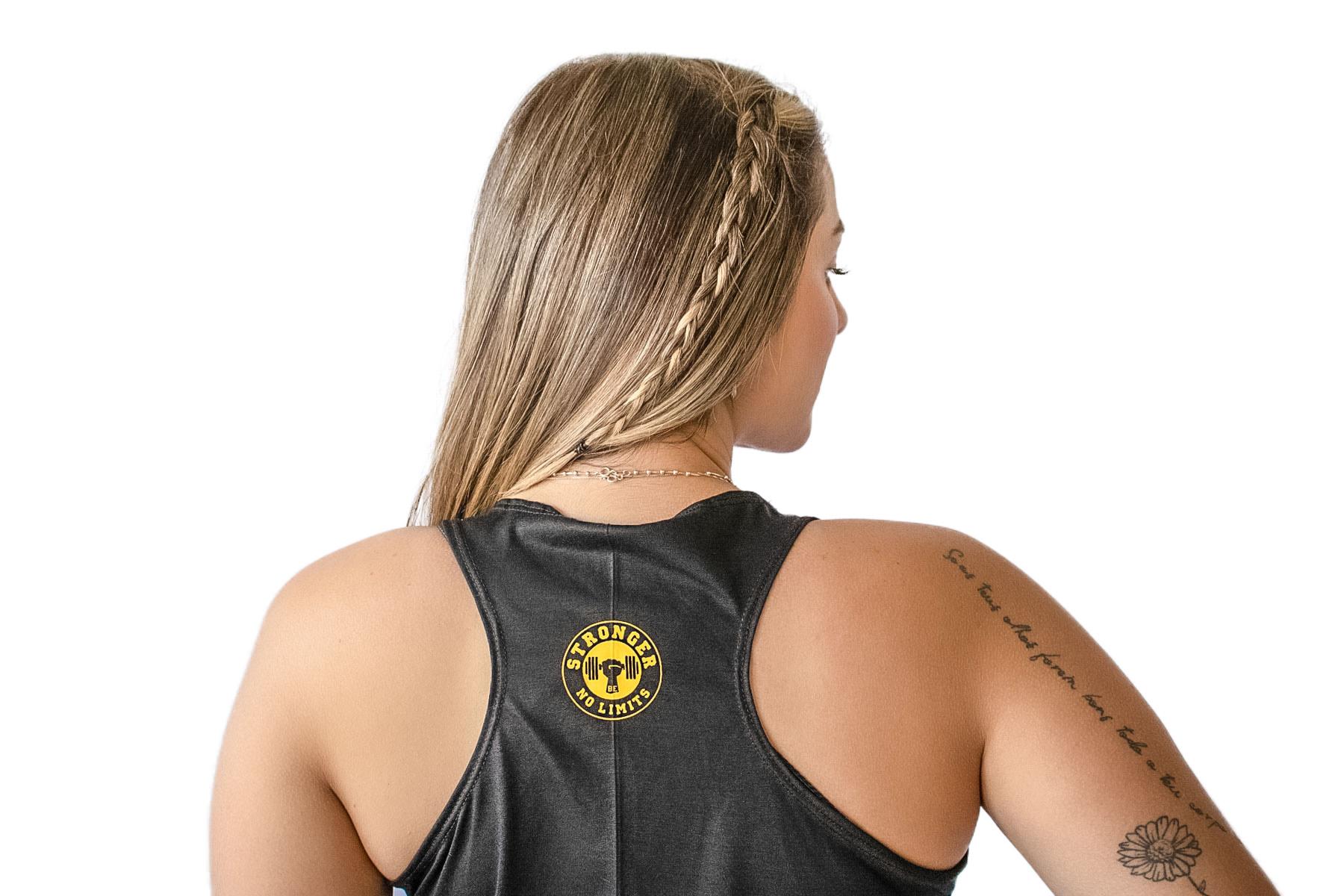 Regata Feminina Preta Be Stronger Silk Amarelo