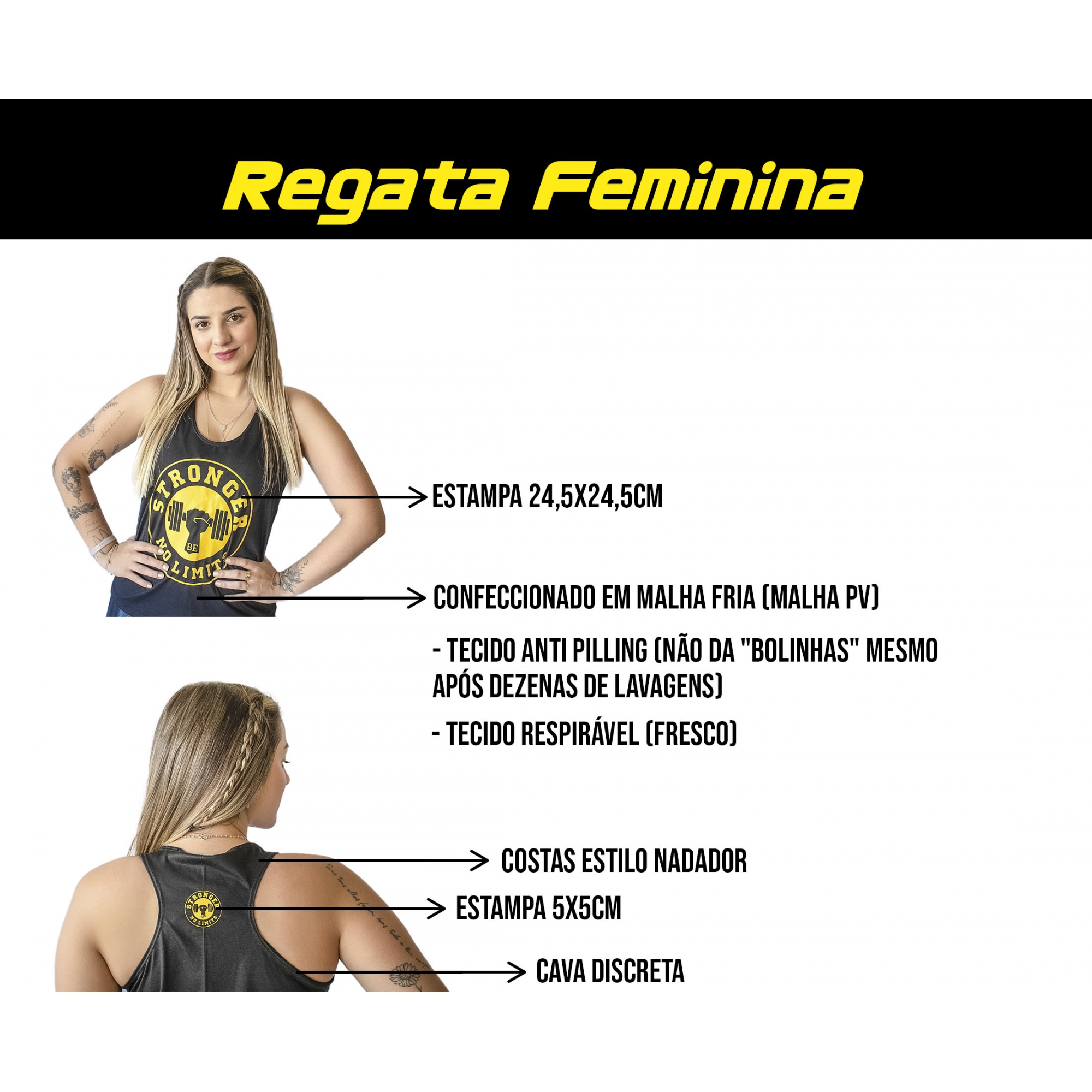 Regata Feminina Preta Be Stronger Silk Laranja Fluorescente