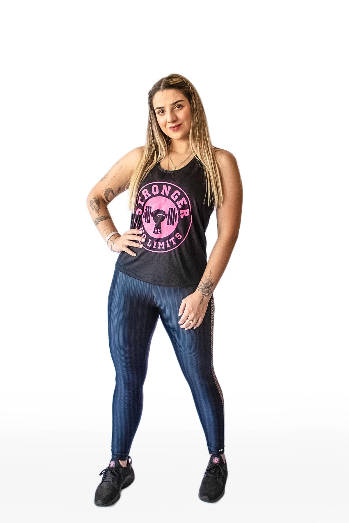Regata Feminina Preta Be Stronger Silk Rosa Pink