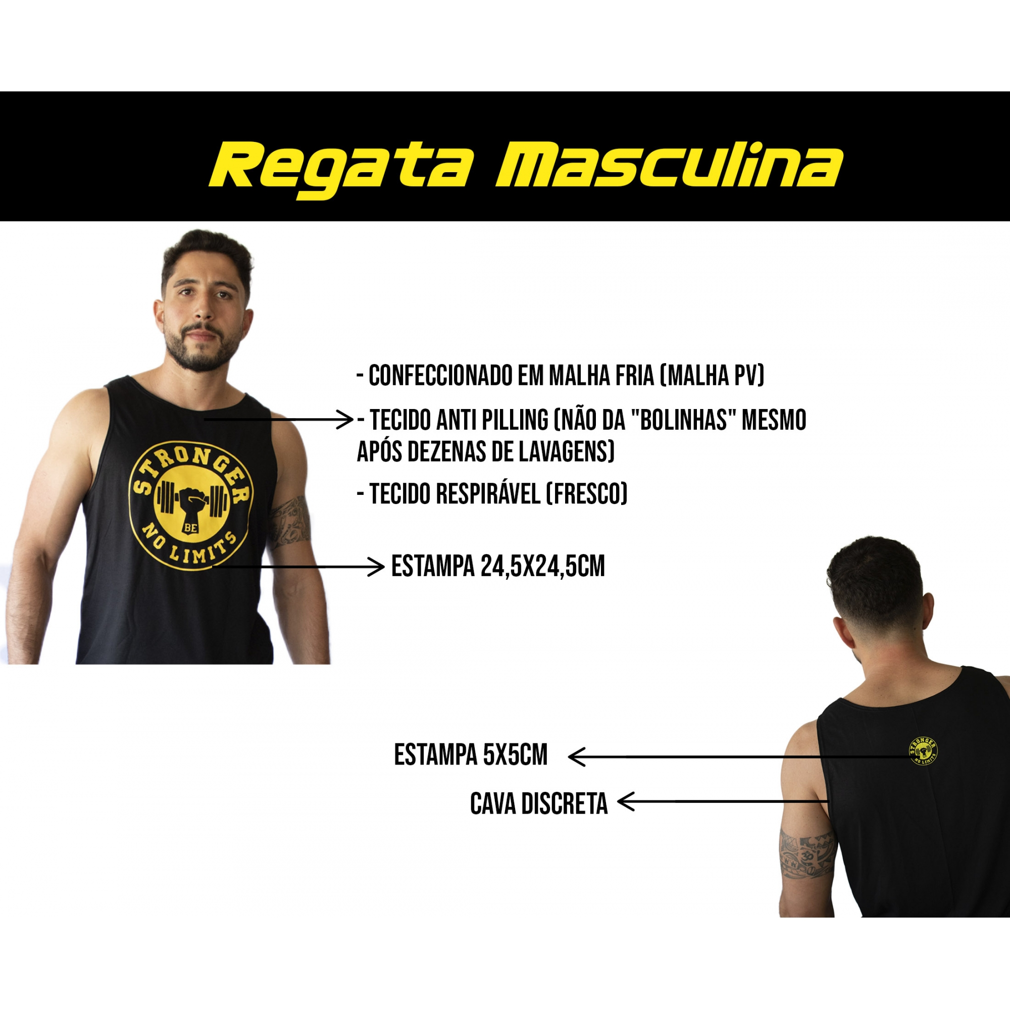 Regata Masculina Preta Be Stronger Silk Amarelo