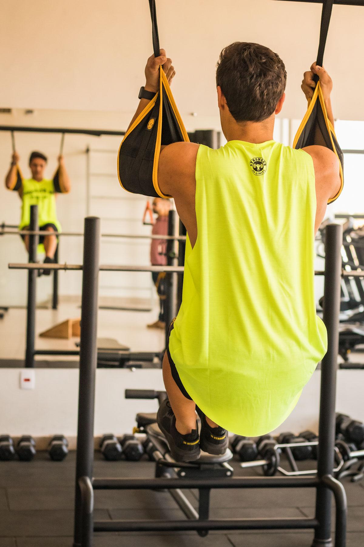 Tipoia Para Exercício Abdominal + 2 Suportes de Teto Preto