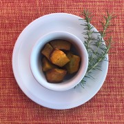 Abóbora japonesa assada com mel e shoyu