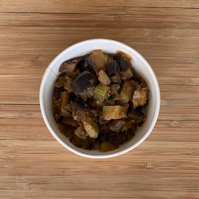 Refogado de berinjela e cebola com pimenta síria