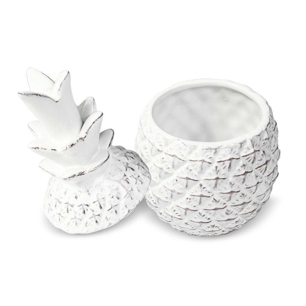 Abacaxi Com Tampa Em Cerâmica Branco Decoração Moderna