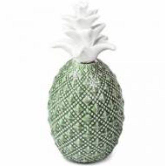 Abacaxi Verde e Branco em Cerâmica