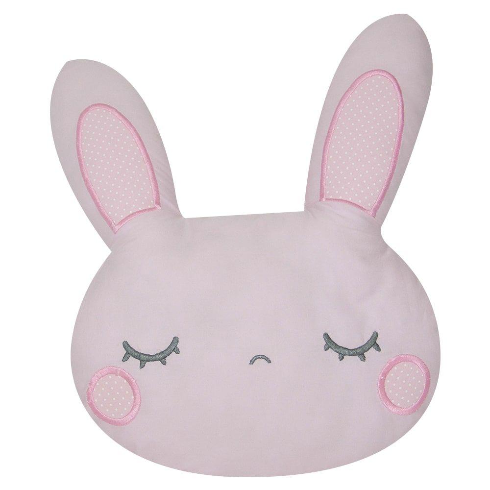 Almofada de tecido antialérgico 100% algodão - coelha rosa 38 x 32 cm