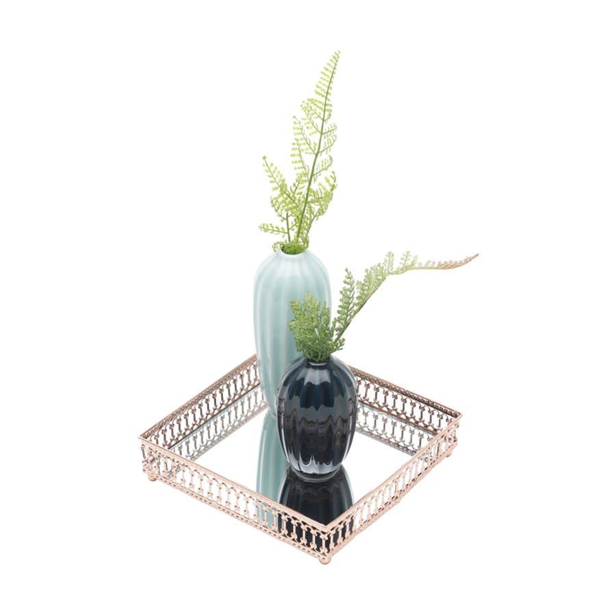 Bandeja cobre metal mirror classic border quadrada