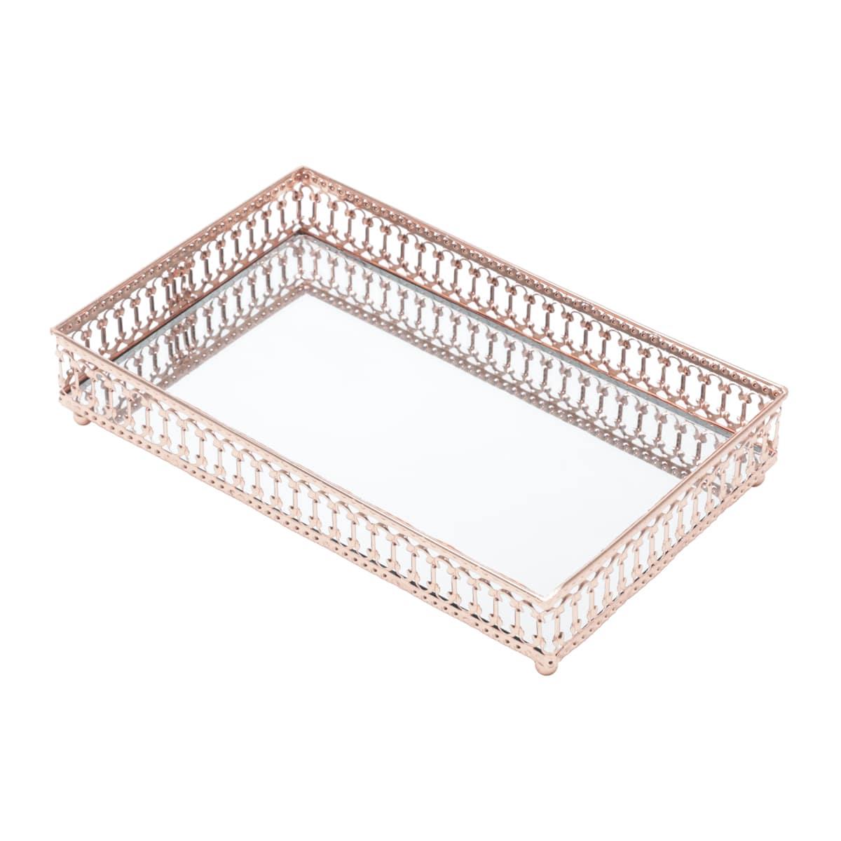 Bandeja Espelhada Cobre Metal Mirror Classic Border Retangular Luxo