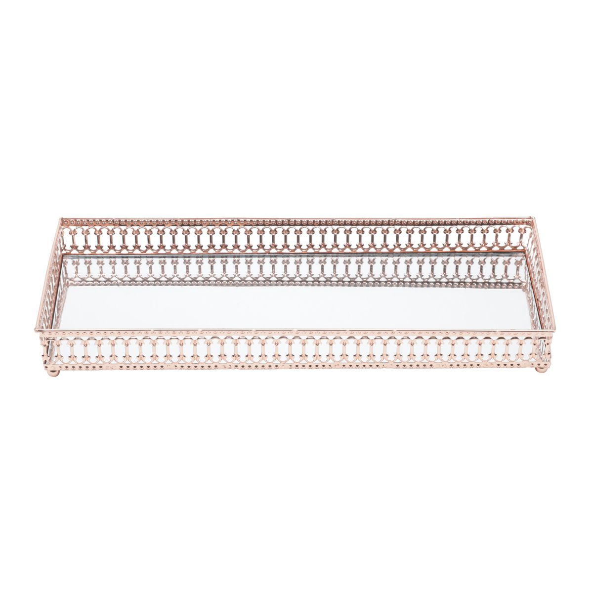 Bandeja Espelhada Cobre Retangular Luxo para Lavabo / Bar / Sala