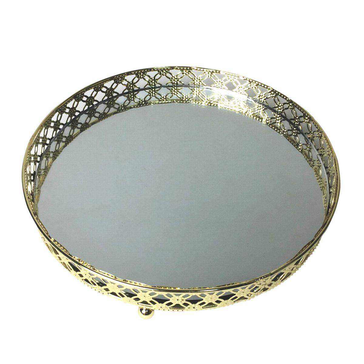 Bandeja Espelhada Dourada de Metal Redonda Luxo para Lavabo / Bar / Sala