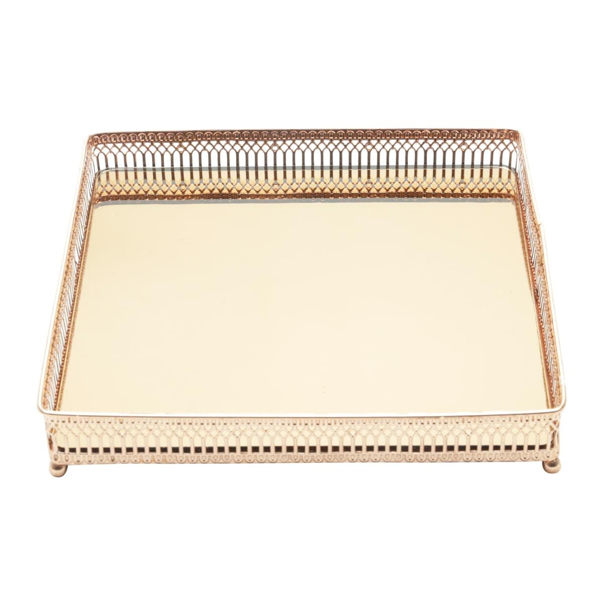 Bandeja Espelhada Metal Cobre Quadrada Luxo para Lavabo / Bar / Sala 25 x 25 x 4,5 CM